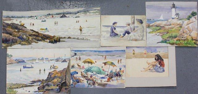 13: NEWMAN, Joseph. 6 Watercolor Beach Scenes.