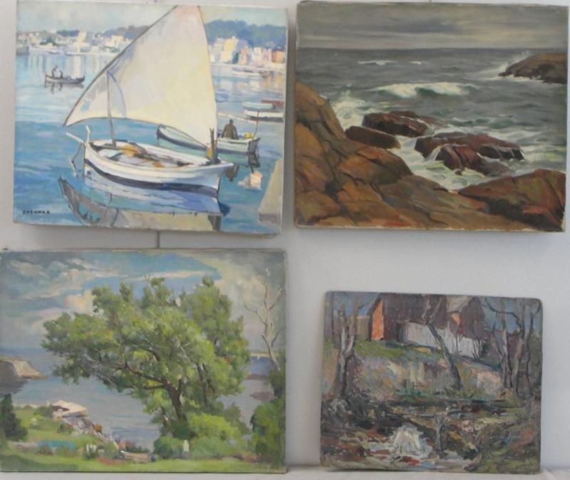 14: NEWMAN, Joseph. 4 Oils of Coastal Landscapes.