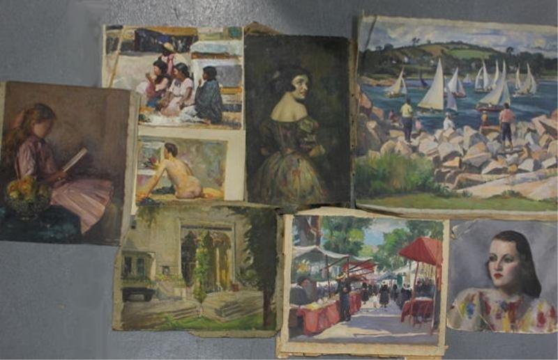 15: NEWMAN, Joseph. 8 Loose Oils on Canvas.