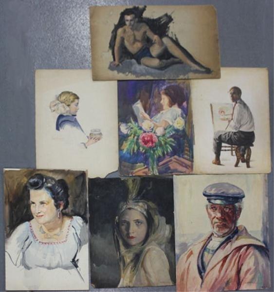 16: NEWMAN, Joseph. 7 Portraits/Figure Studies.