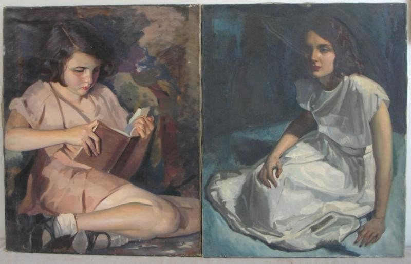 17: NEWMAN, Joseph. 2 Oils on Canvas of Seated Girls.