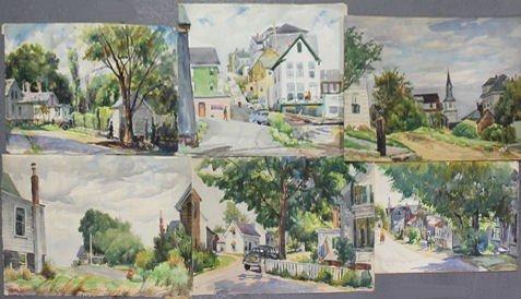 19: NEWMAN, Joseph. 6 W/C's of Rockport Street Scenes.