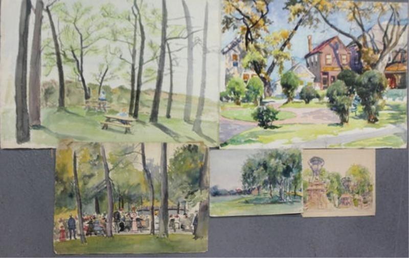 20: NEWMAN, Joseph. 5 Watercolor Park Scenes.