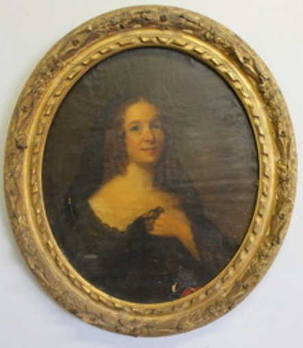 23: Unsigned Oil on Canvas Portrait of a Lady.