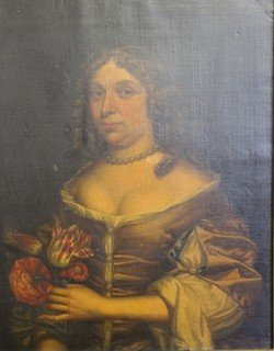 27: LELY, Pieter. Oil on Canvas Portrait of a Lady.