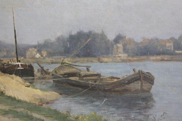 96: LEPINE, Stanislas. O/C Landscape with Boat.