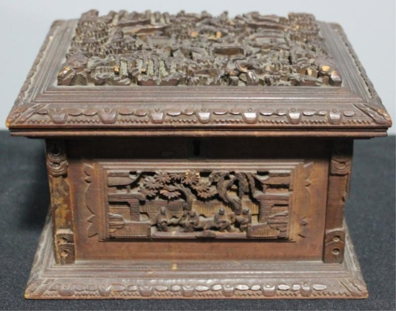 3: Small Finely Carved Asian Lift Top Box.