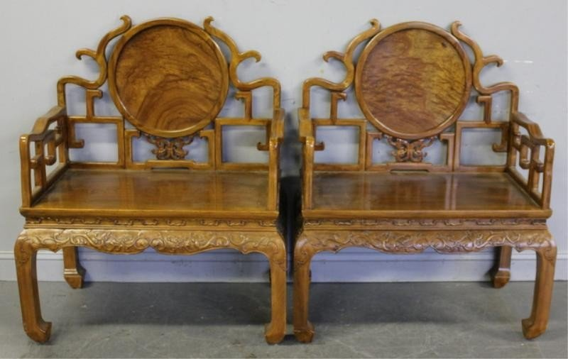 4: Pair of Contemporary Oversized Chinese Chairs.