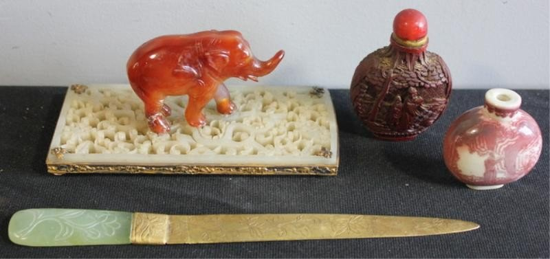 16: Jade and Sterling Elephant, Two Snuff Bottles and