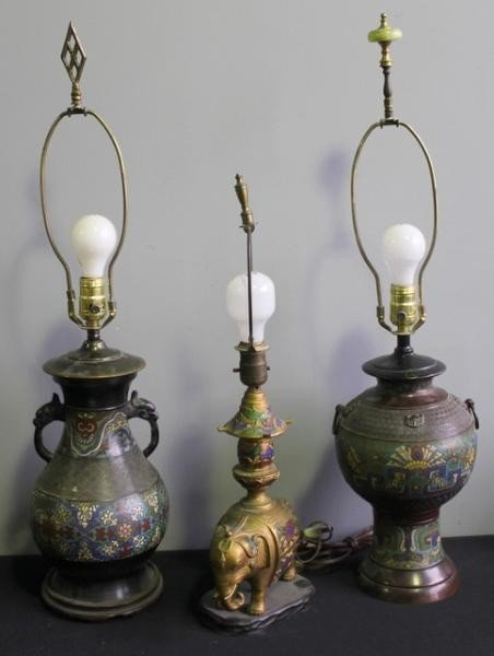 20: Three Champleve Lamps Including One with Gilded
