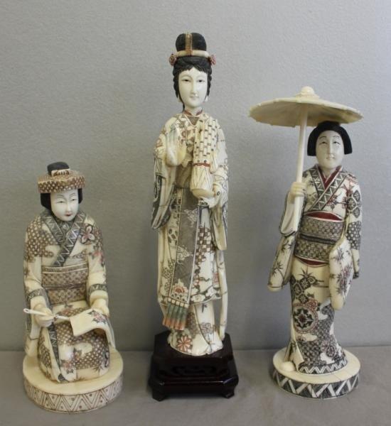 22: 3 Asian Carved & Polychrome Veneered Bone Figures.