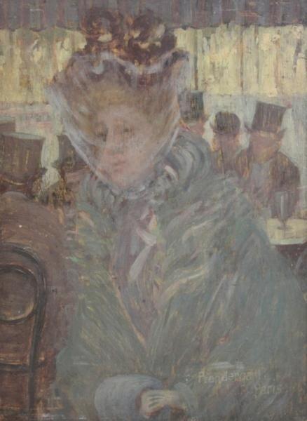 275: PRENDERGAST, Maurice. Oil on Panel. Woman in Veil.