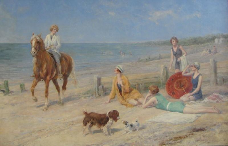 276: HARDY, Heywood. Oil on Canvas Beach Scene.
