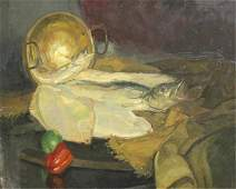 366: ROMANS, C.J. Oil on Canvas Still Life with Fish.