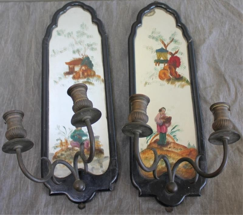 11: Pair of Asian Style Mirrored Sconces.