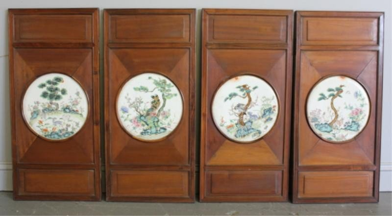 14: 4 Chinese Wood Doors with Porcelain Inserts.