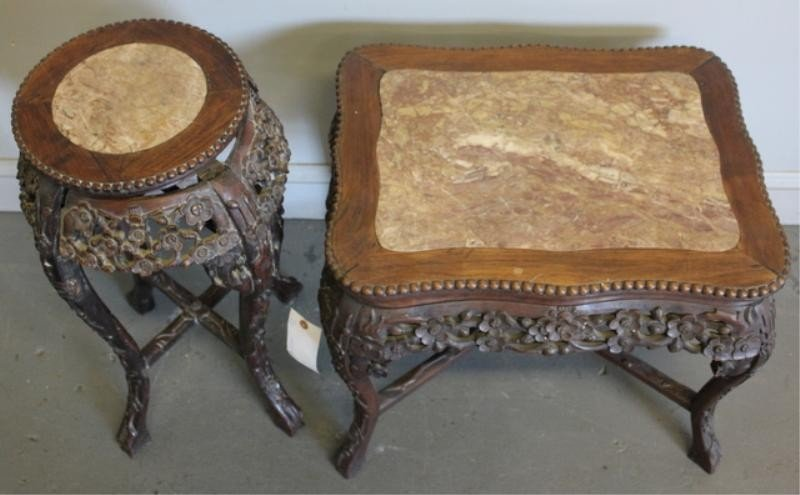 16: 2 Chinese Hardwood, Carved & Marbletop Tables.