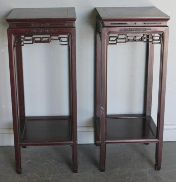 21: Pair of Chinese Carved Wood Pedestal Tables.