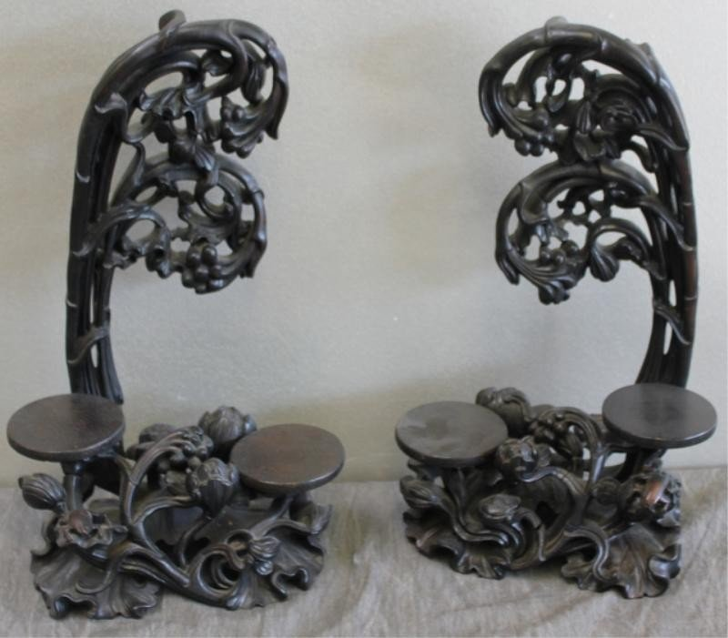 22: Pair of Chinese Wood Tree Form Display Shelves.