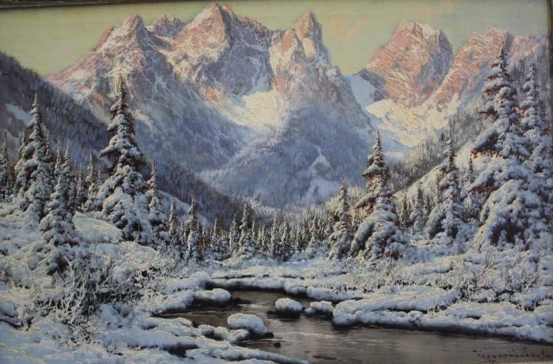 53: NEOGRADY, Laszlo. Oil on Canvas Snow Scene.