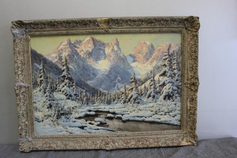 53: NEOGRADY, Laszlo. Oil on Canvas Snow Scene. - 2