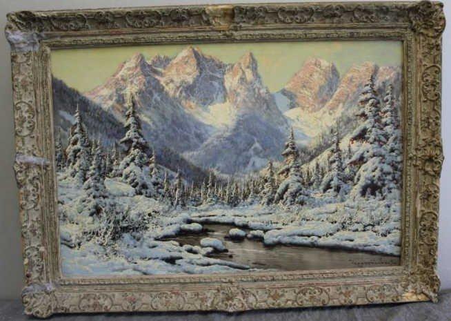 53: NEOGRADY, Laszlo. Oil on Canvas Snow Scene. - 3