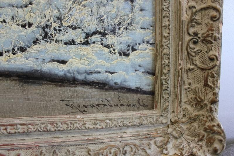 53: NEOGRADY, Laszlo. Oil on Canvas Snow Scene. - 5