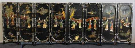 411: 2 Asian Lacquered Table Screens with Mother of
