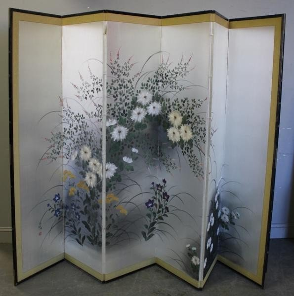 1: Hand Painted 6 Panel Screen.