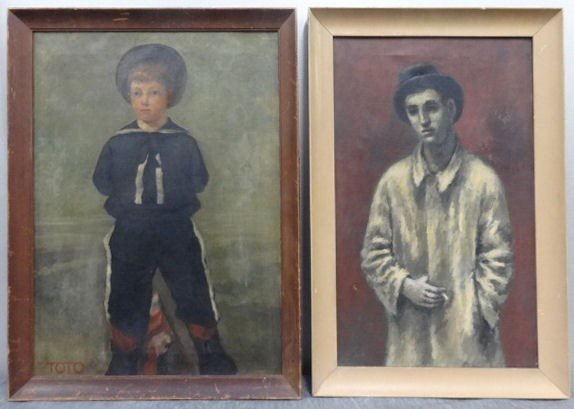 5: Two Unsigned Oil on Canvas Portraits.