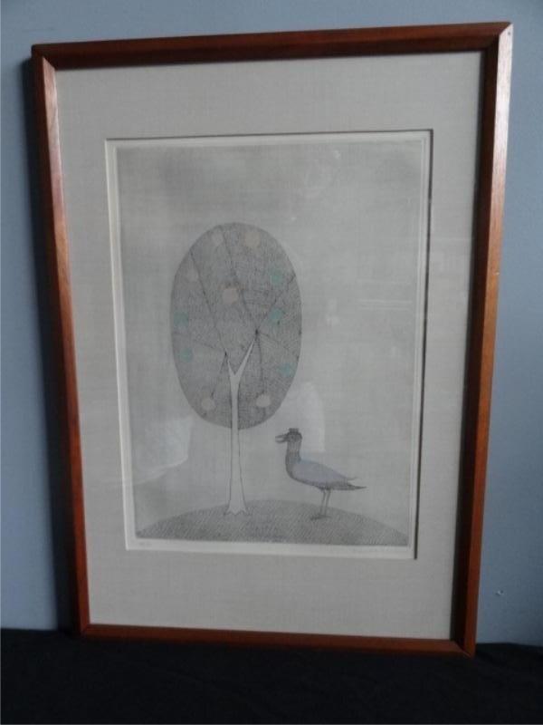 "7: MINAMI, Keiko. Signed Etching. ""Tree with Bird."""