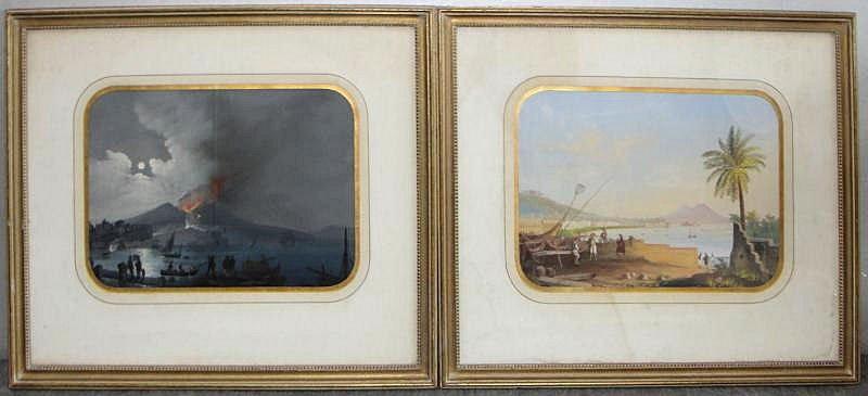 9: 2 Framed Italian Gouaches. Views of Mt. Vesuvius.