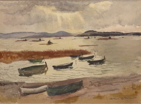 10: FULLER, Arthur. Watercolor of Boats.