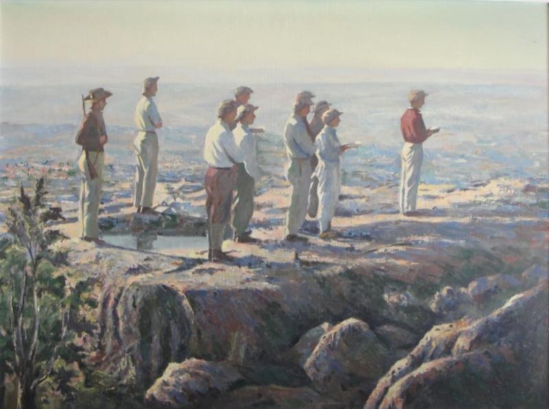 14: ASHER, Ben. O/C Men Praying in Israeli Landscape.