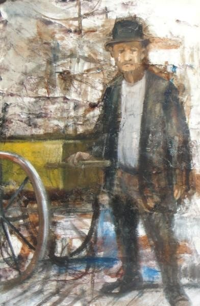 15: JASLOW, Ted. Acrylic of Man with Cart.