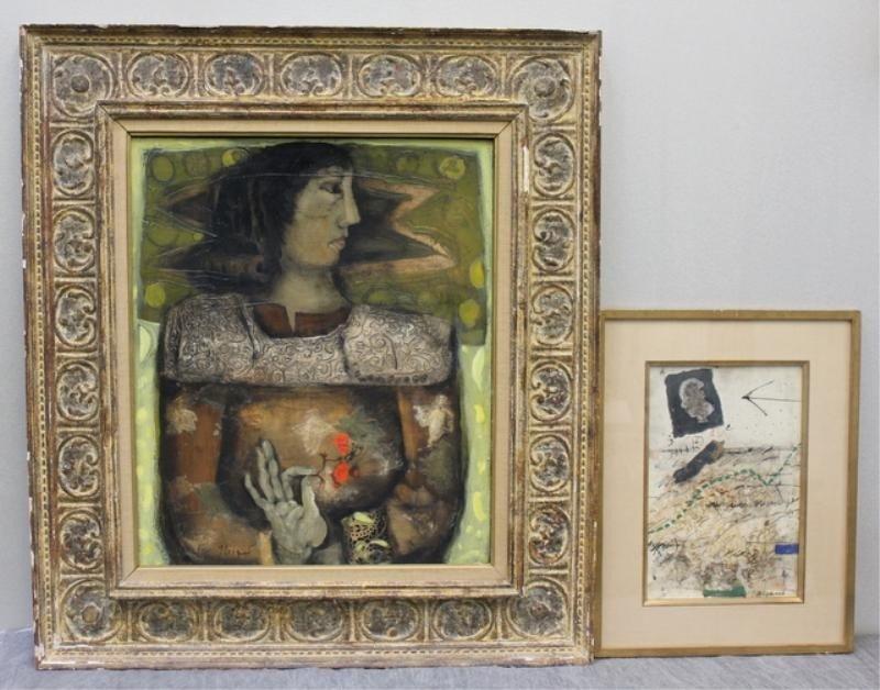 17: COIGNARD, J. 2 Modernist Paintings: 1 O/C & 1 W/C.