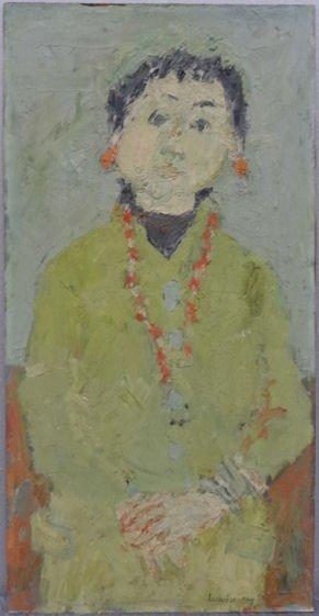 """19: LACHIEZE-REY, Henri. 1958 O/M """"Portrait de Nanou."""""""