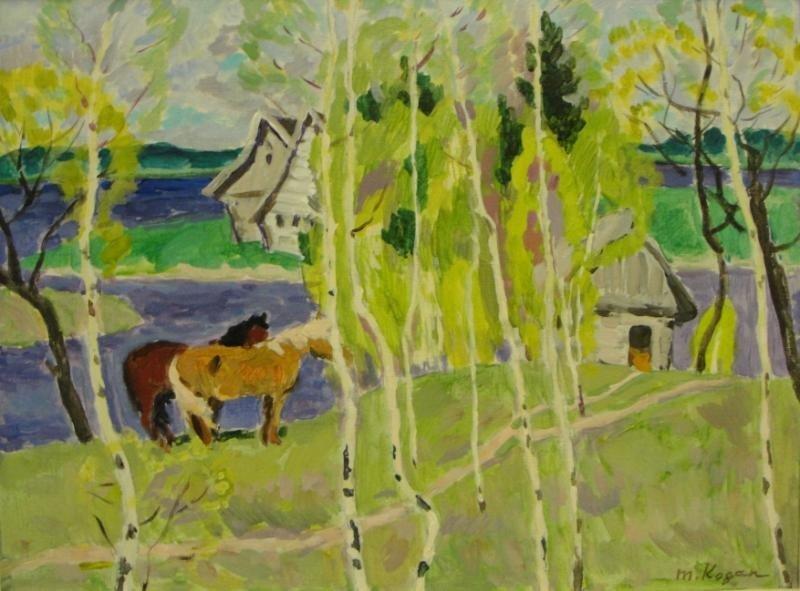 21: KOGAN, Moisey. O/C Rural Landscape with Horses.