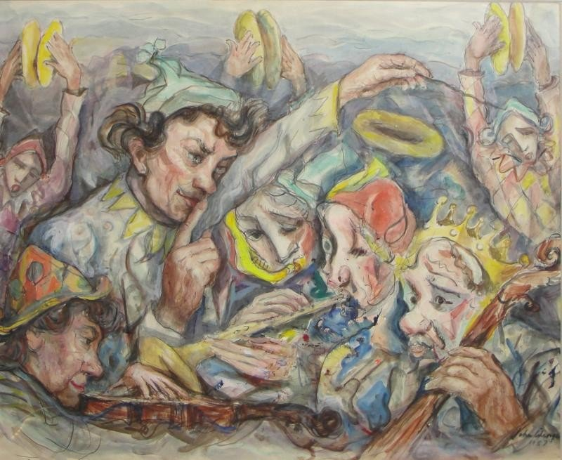 "22: WENGER, John. 1957 Watercolor ""Musical Clowns."""