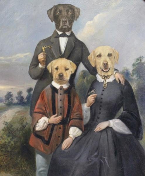 24: PONCELET, Thierry. Oil on Board of 3 Dogs in Suits