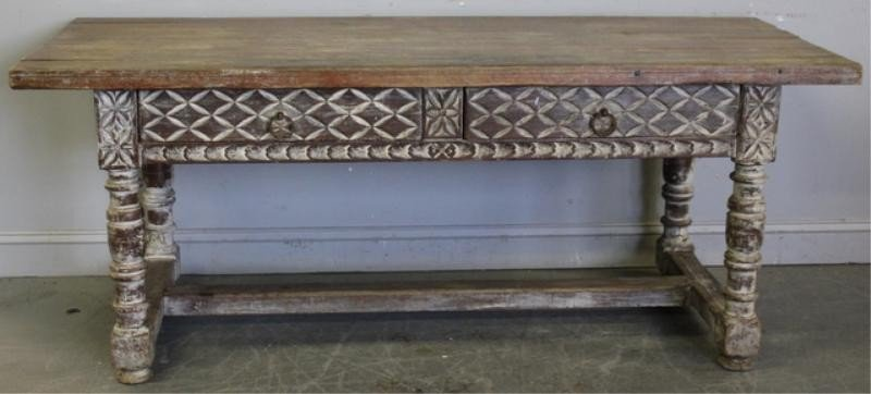 71: 19th Century 2 Drawer Table with Limed Finish.