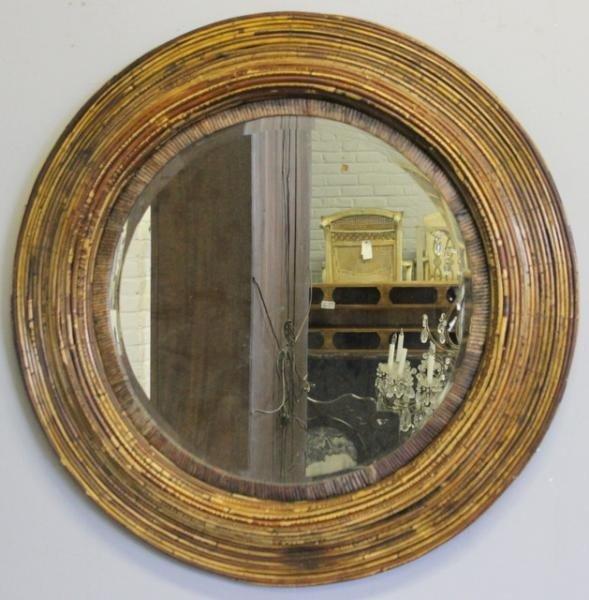229 round bamboo mirror