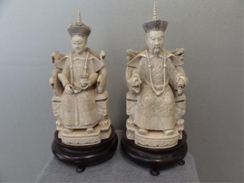 273: Pair of Asian Ivory Figures on Wood Stands.