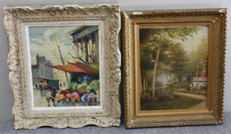 2: Two Oil Paintings. 1 Signed Street Scene on Canvas