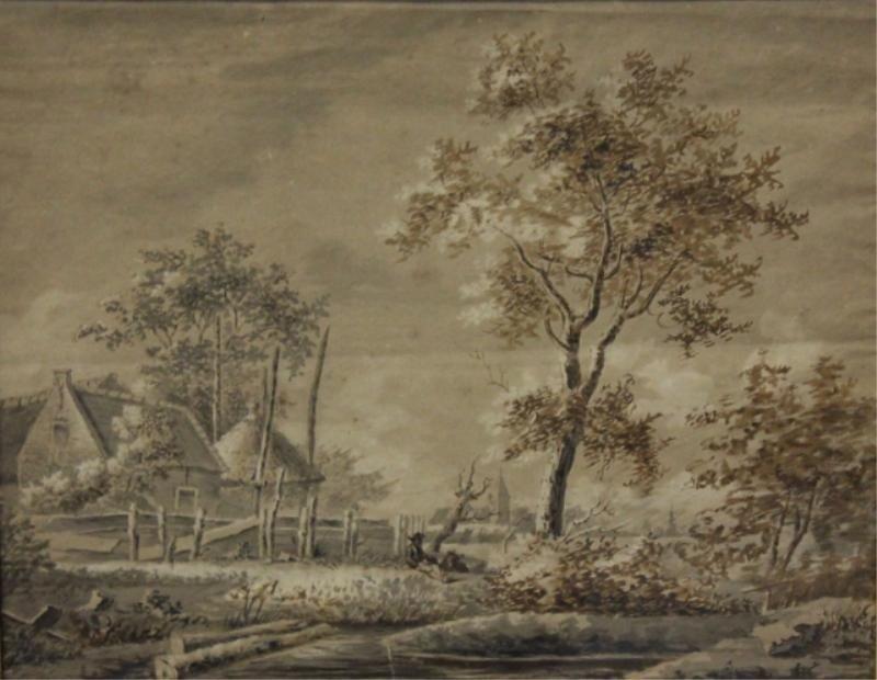 6: Old Master Pen & Ink Drawing of a Landscape.