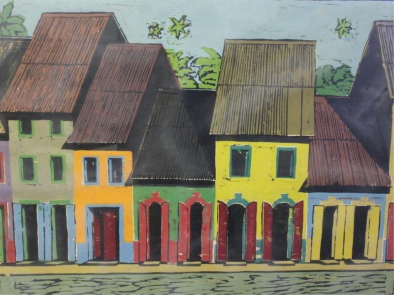 8: SANCHEZ, Emilio. Large Woodcut of Houses.