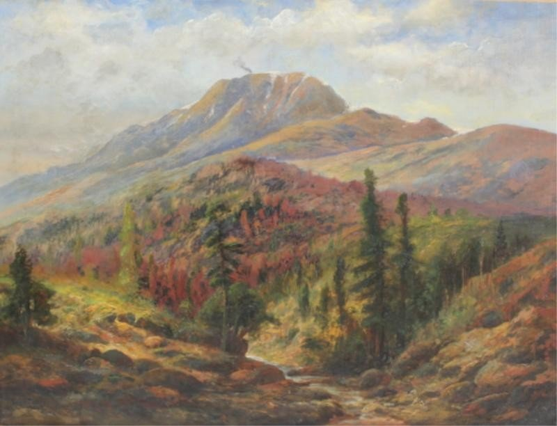 """9: MOSES, Thomas. 1906 Oil on Canvas """"Pikes Peak."""""""