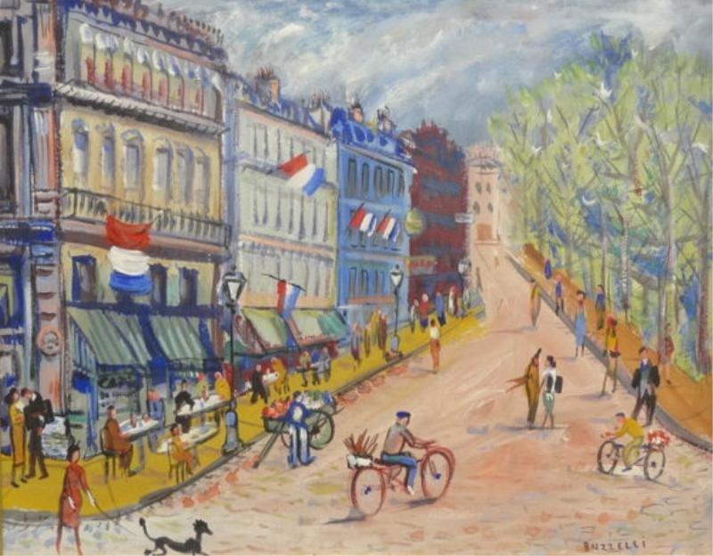 13: BUZZELLI, Joseph Anthony. Gouache. Parisian Street