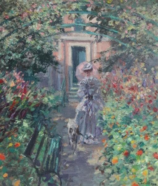 14: BECKER, Hans. Impressionist O/C Woman & Dog in