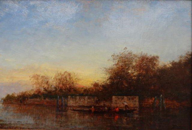 """17: ZIEM. Oil on Canvas  """"Venise, Le Jardin Francais."""""""